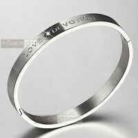 SILVER BRACELET BANGLE STAINLESS STEEL MADE WITH SWAROVSKI CRYSTAL CRYSTAL LOVE