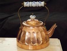 Copper Delft Blue Handle Tea Pot Kettle Made in Korea
