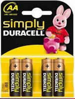 4 X Simply DURACELL AA MN1500 LR6 PILES 1.5V ALCALINE 1 Pack 4