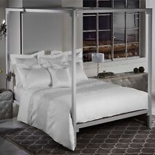 "Frette At Home Noto Ricamo Duvet Cover King 104"" x 91"" White/Stone Jacquard NEW"