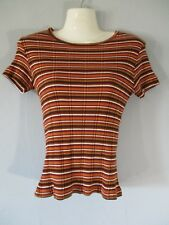 Basic Editions Women's Size S Short Sleeve Short Sleeve Knit Striped Blouse