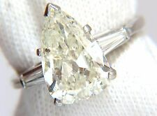 4.06CT NATURAL PEAR SHAPE DIAMOND PLATINUM RING BAGUETTE CLASSIC