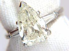 4.06CT NATURAL PEAR SHAPE DIAMOND PLATINUM RING BAGUETTE CLASSIC