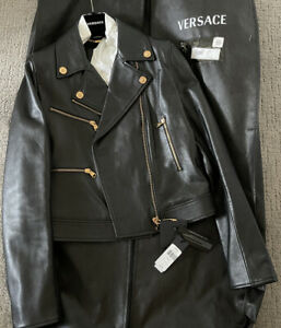 Versace Safety Pin Leather Women's Embellished Black Leather Jacket IT42 Med NWT