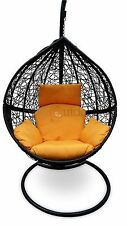 Outdoor Hanging Egg Chair - Black Basket with Yellow Cushions - PREORDER