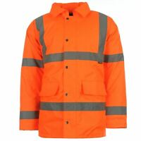 Dunlop Hi Vis Parka Mens Gents Workwear Jacket Coat Top Hooded Zip Zipped Stripe