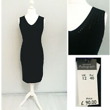 M&S Autograph Black Jumper Dress 12 Bodycon Stretch Pencil NEW £90 Formal Casual