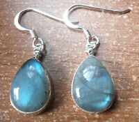 Labradorite Teardrop 925 Sterling Silver Dangle Earrings