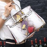 100% Genuine Leather Women's Snake Handbag Satchel Tote Crossbody shoulder Bag