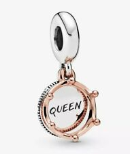 🇬🇧💜💜925 STERLING SILVER QUEEN & REGAL CROWN DANGLE CHARM & POUCH