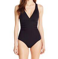 La Blanca Jet Black Women's Size 6 Crossback Strappy One-Piece Swimsuit $119 609