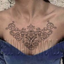 LARGE VINTAGE VICTORIAN FLOWER FLORAL CHEST PIECE TEMPORARY TATTOO STICKER
