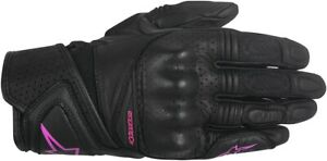 Alpinestars Women'S Baika Leather/Mesh Street Riding Gloves (Black/Pink) Small