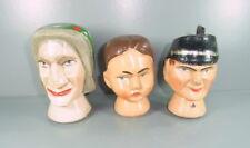 3 Puppenköpfe aus Holz - Kasperpuppen - sehr gute Arbeit - sehr alt.