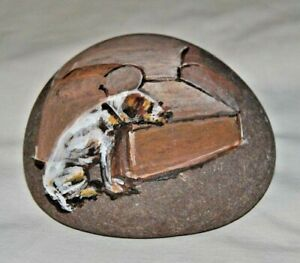 Stone Art by Leean Dog Waiting for His Master * Rock Art Painting * Original 6-B