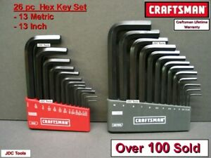 CRAFTSMAN HAND TOOLS 26 pc SAE & METRIC MM Allen / Hex Key wrench set !! 20 40