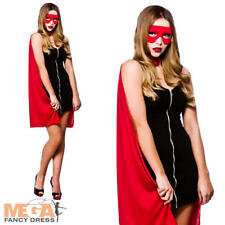 Red Superhero Cape Ladies Fancy Dress Up Riding Hood Womens Halloween Costume