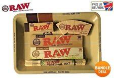 RAW Mini Rolling Tray + Classic,Organic KS Rolling Paper + RAW Tips + Bamboo Mat