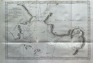 Original Antique Map 1788 Alaska Russia North America Cook's  Travels R Benard