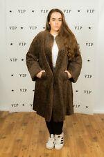 50s 60s Vintage marrón rizado lana Duster Abrigo de imitación abrigo de cordero Persa
