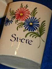 VINTAGE ancien POT à SUCRE motifs fleurs SUCRIER Zuckerdose SUGAR pentola