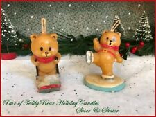 Adorable Lot of 2 Vintage Teddybear Christmas Candles Skier & Skater ~ Unused