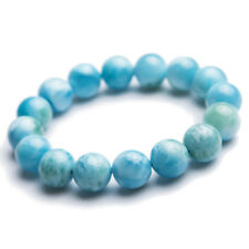 12mm Natural Blue Larimar Gemstone Round Beads Water Pattern Bracelet  7.5""
