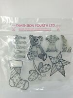 Dimension Fourth Clear Unmounted Rubber Stamp Set Christmas Birthday x 7