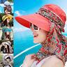 Women Protective Hat Outdoor Sun Cap Neck Face Wide Brim Visor Summer Anti-UV CN