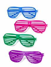 12 Pairs 80's Shutter Shade Sunglasses Party Supplies Fluroscent Colors Costumes