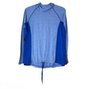 Under Armour Threadborne Heat Gear Blue Hoodie Top Loose Lightweight Activewear