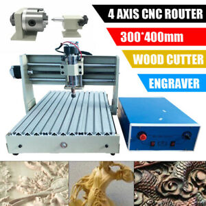4 Axis CNC 3040 Router Engraver Engraving Machine Milling Carving PCB 400W 220V