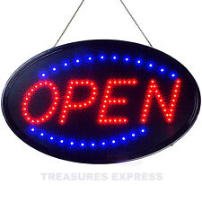 "Led Neon Open Sign Static + Flashing Modes Stores Bars Barber Shops 23"" x 14"""