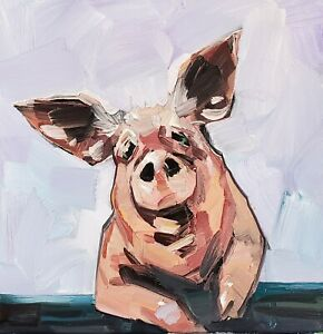 JOSE TRUJILLO Oil Painting IMPRESSIONISM PIG ANIMAL FARM COLLECTIBLE ARTIST NR