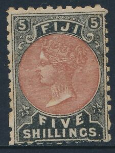 1882 FIJI 5/- DULL RED & BLACK MINT HINGED SG69