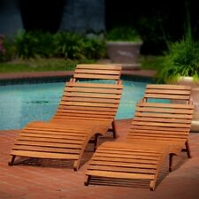 Outdoor Patio Furniture Wood Chaise Lounge 2 Pc Recline Slatted Garden Yard Lawn