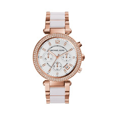 Brand New Michael Kors Parker Rose Gold Chrono 39mm White MK5774 Womens  Watch 7f957709bc