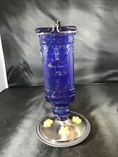 Hummingbird Feeder Cobalt Blue Bottle Nectar Bird Wildlife Outdoor - Extra Ports