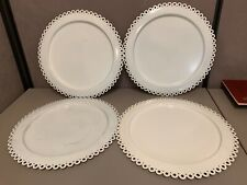 """set of 4 Crate and Barrel White Scalloped Metal Platters Plates 16"""" Diameter"""