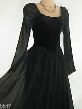 LAURA ASHLEY VINTAGE BLACK VELVET MEDIEVAL/GOTHIC EVENING FESTIVE DRESS,14 (16)