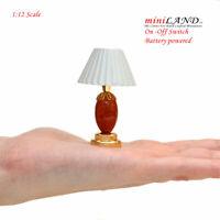 Table LED LAMP Dollhouse miniature light battery on/off 1:12 Brass Orange