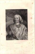 ANTIQUE ENGRAVING PORTRAIT J. B. BOSSUET BISHOP SPOKESMAN RIGHTS FRENCH CHURCH