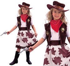 Childrens Vaquera Fancy Dress Costume Chicas vaquero occidental TRAJE CHILDS XL