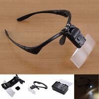 Headband Head-Mounted 2 LED Lamp Jeweler Light Magnifier Magnifying Glass Loupe