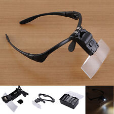 Headband Head-Mounted 2 LED Lamp Jeweler Light Magnifier Magnifying Glass Loupe