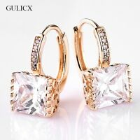 SQUARE 18K REAL GOLD FILLED HOOP EARRINGS MADE WITH SWAROVSKI CRYSTALS GIFT