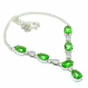 "Peridot Gemstone Handmade 925 Sterling Silver Jewelry Necklace 18"" T595"