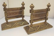 Pair of Antique Victorian Brass Fire Dogs in the Arts & Crafts Aesthetic Style