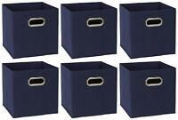 Foldable Fabric Storage Bins Set of 6  Cubes w/ Handles Navi Baskets Organizers
