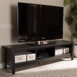 Callie Modern 3-Shelf Wenge Dark Brown Finish Wood TV Stand Media Console Table